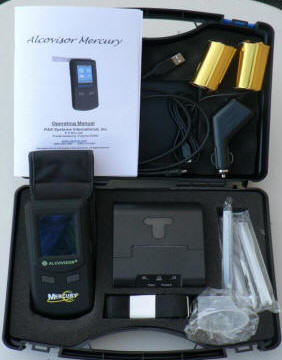 Alcovisor Mercury Breathalyser Pack showing contents